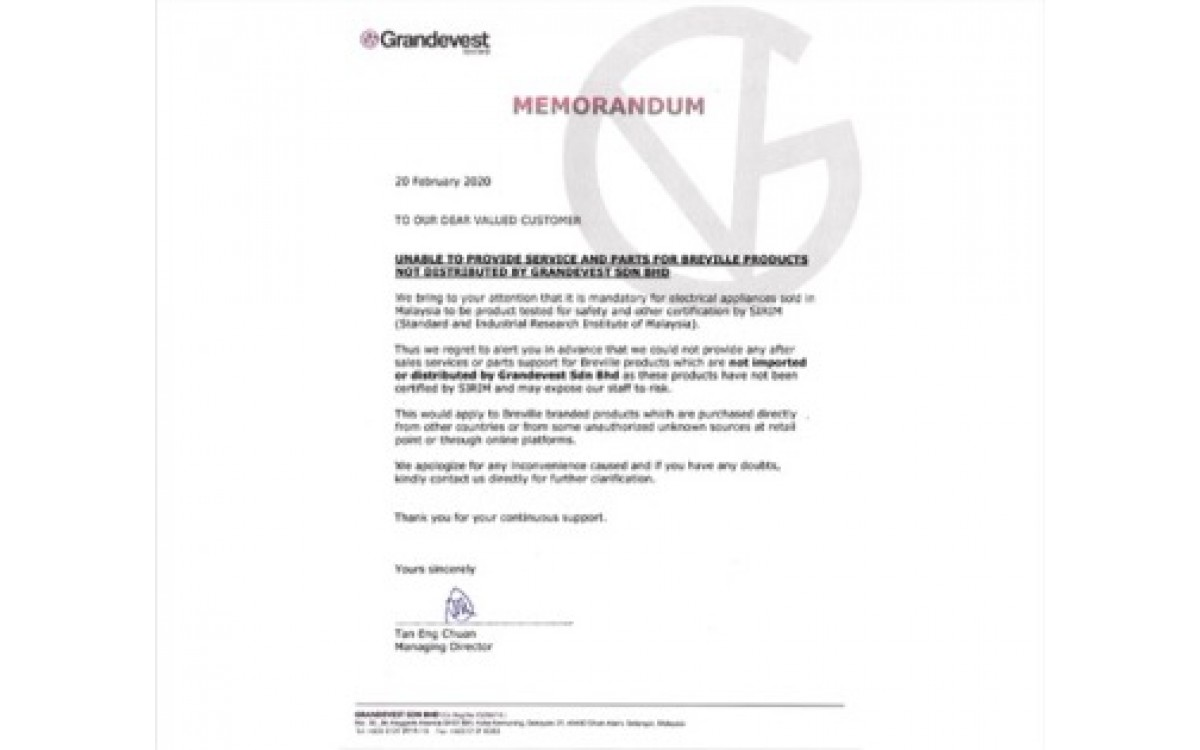 Unable to Provide Service and Parts for Berville Products Not Distributed by Grandevest Sdn Bhd